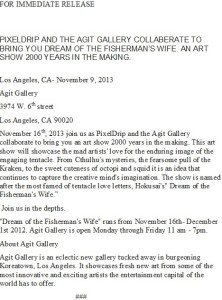 "Press Release for the Agit Galleries art show ""The Fisherman's Wife."""